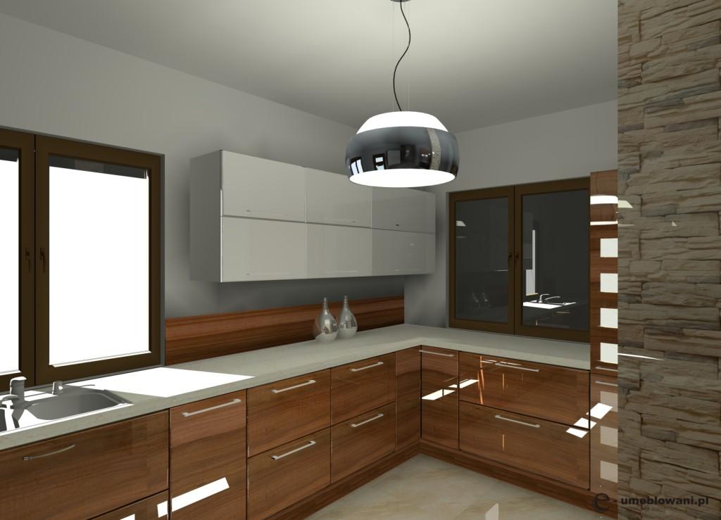 Aranżacja wystrój nowoczesny w kolorach brąz, biały -> Kuchnie Nowoczesne Jasne Kolory