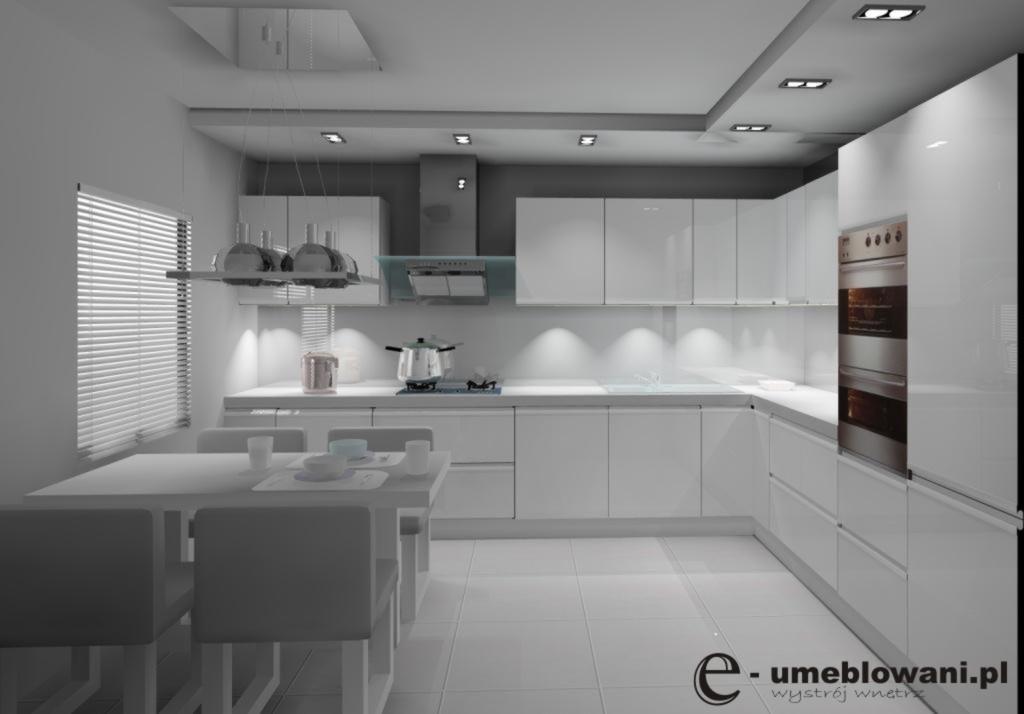 Aranżacja kuchni wystrój nowoczesny w kolorach biały, szary -> Bialo Szara Kuchnia Z Czarnym Blatem