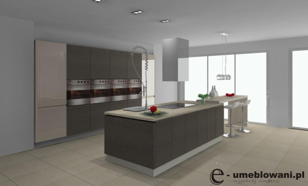 Archiwa kuchnia brązowo waniliowa  Projektowanie i