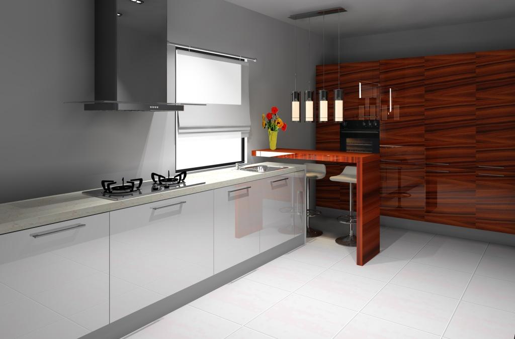 Kuchnia wystrój nowoczesny w kolorze biały, brąz -> Castorama Kuchnia Piano Bialy