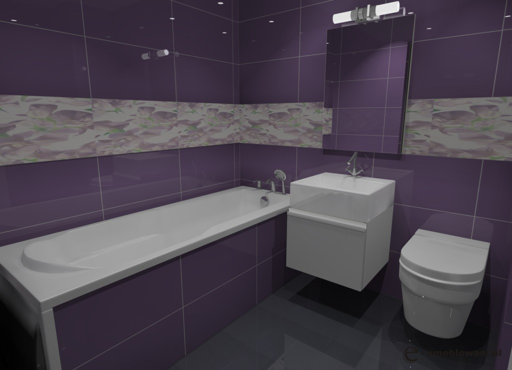 Projekt  aranżacja łazienki wystrój nowoczesny w kolorach fiolet, biały  Pr   -> Kuchnie We Fiolecie
