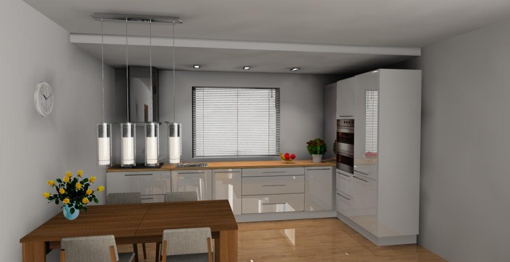 Projekt  aranżacja kuchni otwartej wystrój nowoczesny w kolorze biały, brąz