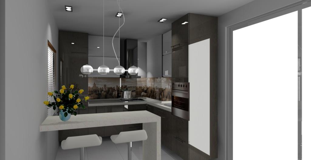 Kuchnia z barkiem wystrój nowoczesny w kolorze biały, wenge -> Kuchnia Wenge Wanilia Zdjecia