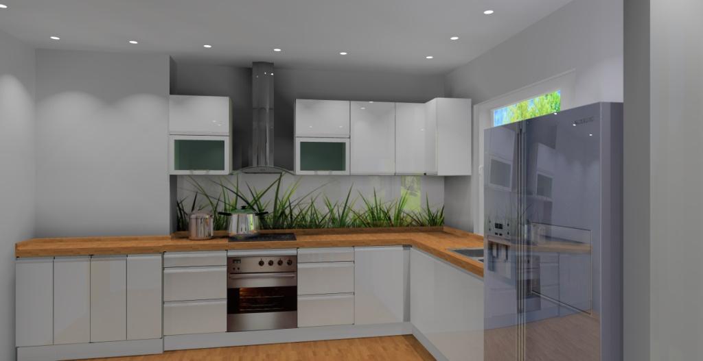 Aranżacja  projekt kuchni z jadalnią wystrój nowoczesny w kolorze biały, brąz -> Projekt Domu Kuchnia Z Jadalnia