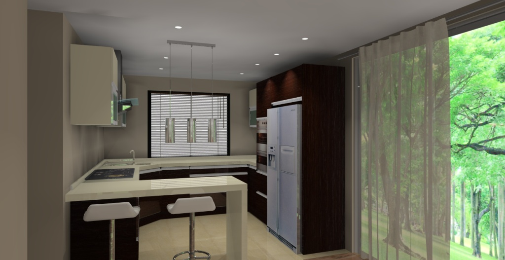 Projekt kuchni otwartej na salon wystrój nowoczesny w kolorze wanilia, brąz -> Kuchnia Z Oknem Otwarta Na Salon