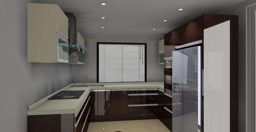 Kuchnia otwarta na salon wystrój nowoczesny w kolorze wanilia, brąz