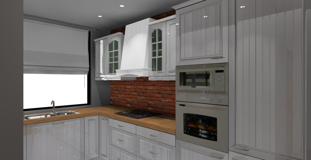 Kuchnia wystrój klasyczny w kolorze biały, szary, cegła -> Kuchnia Cegla Okap