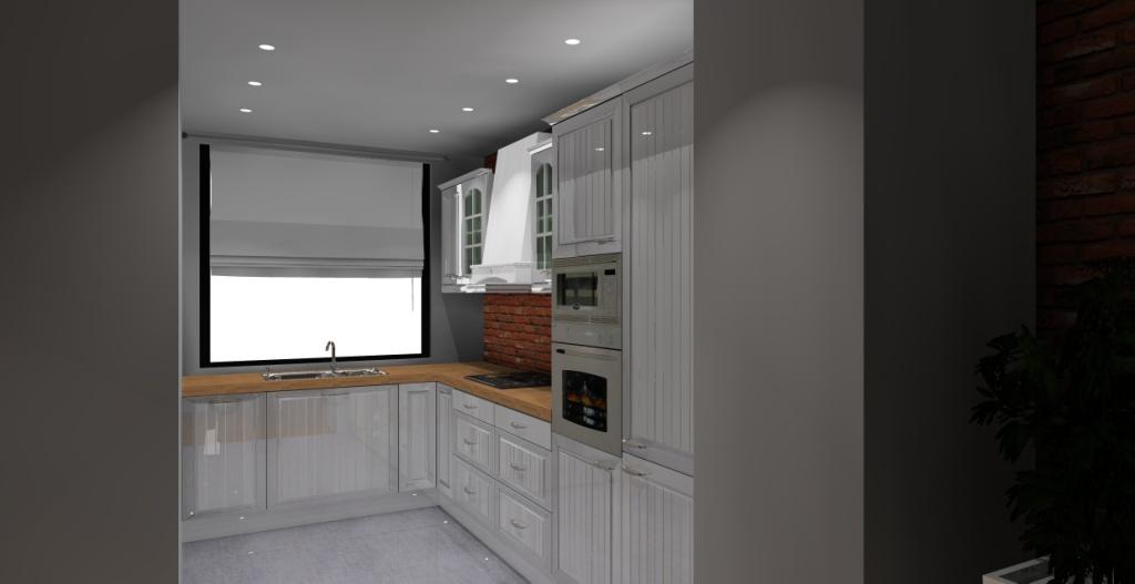 Kuchnia wystrój klasyczny w kolorze biały, szary, cegła -> Kuchnia I Cegla