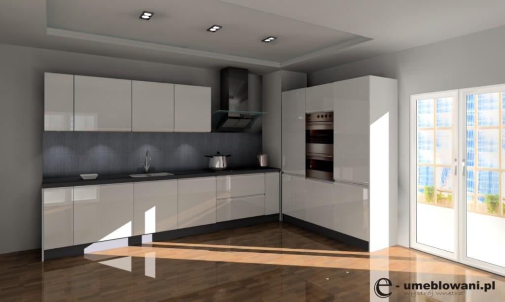 Kuchnia wystrój nowoczesny w kolorach biały, szary, brązowy -> Bialo Szara Kuchnia Z Czarnym Blatem