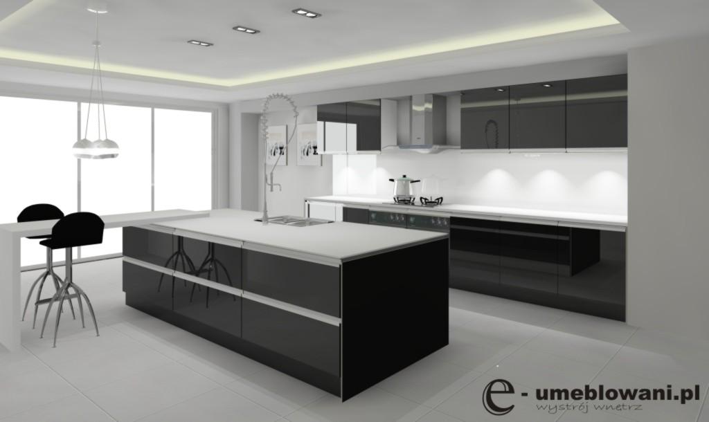 Archiwa czarna kuchnia na wysoki połysk  Projektowanie i aranżacja wnętrz