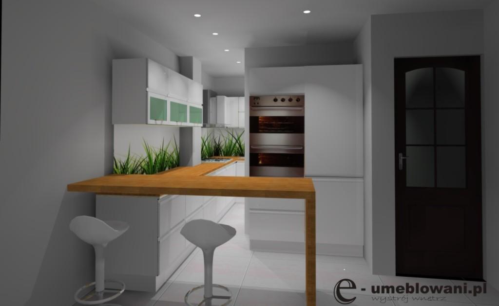 Kuchnia z barkiem wystrój nowoczesny w kolorach biały, brązowy -> Kuchnia Bialo Czarna Z Barkiem