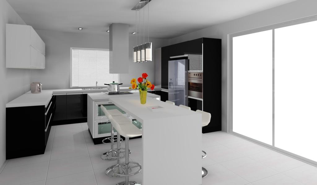 Kuchnia z wyspą wystrój nowoczesny w kolorze czarny, biały -> Kuchnia Bialo Czarna Z Barkiem