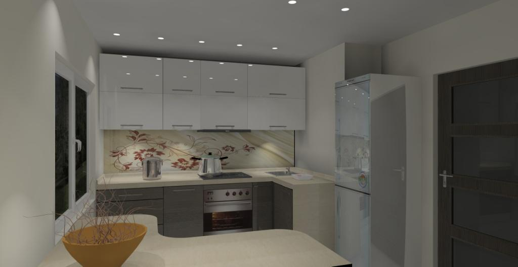 Kuchnia mała wystrój nowoczesny w kolorze brąz, beż, biały -> Mala Kuchnia Bez Okna Aranżacje