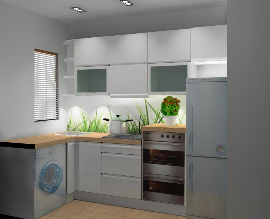 Kuchnia wąska wystrój nowoczesny w kolorze biały, brąz   -> Mala Kuchnia Z Narożnym Zlewem