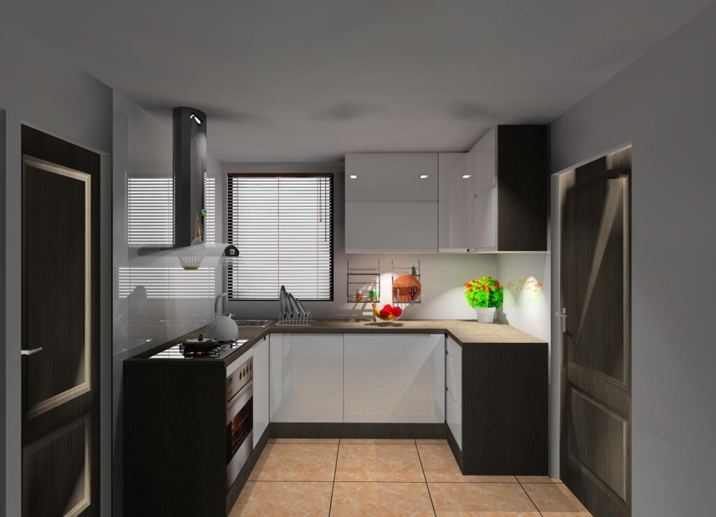 Mała kuchnia wystrój nowoczesny w kolorze biały, brąz, wenge