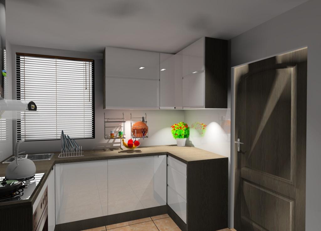 Mała kuchnia wystrój nowoczesny w kolorze biały, brąz, wenge # Kuchnia Biala Wenge