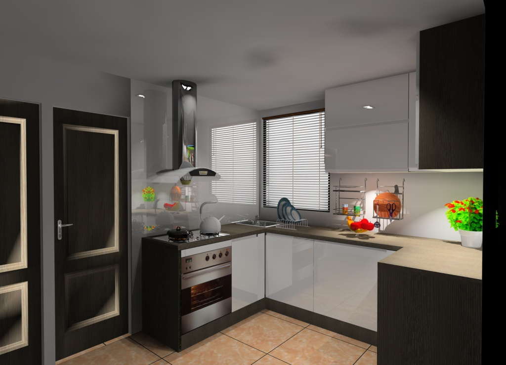 Mała kuchnia wystrój nowoczesny w kolorze biały, brąz, wenge -> Kuchnia Wenge Z Czarnym Blatem