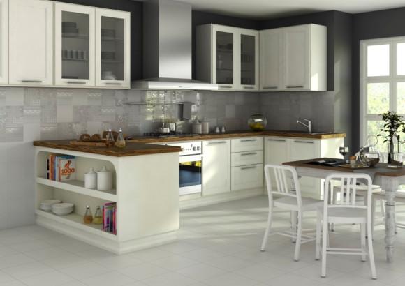 Kuchnia klasyczna wystrój nowoczesny w kolorze biały, brąz -> Kuchnia Kremowa Klasyczna