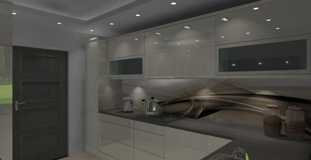 Kuchnia z oknem na salon, wystrój nowoczesny w kolorze ecru, brąz -> Aranżacja Kuchni Z Niskim Oknem