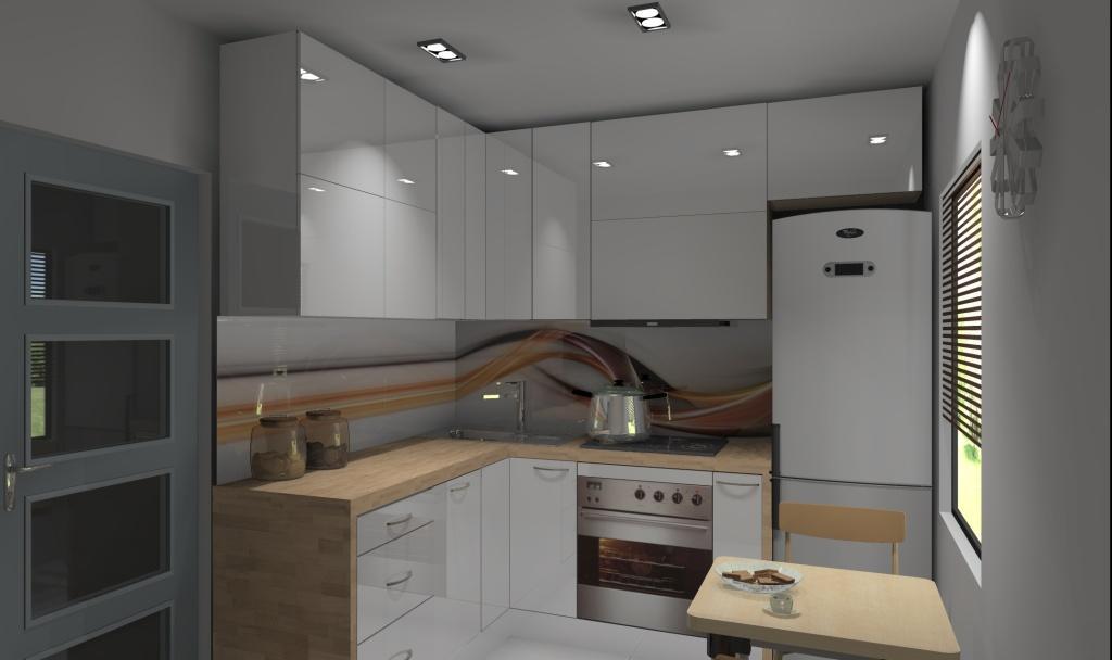 Kuchnia mała w bloku wystrój nowoczesny w kolorze biały, brąz -> Kuchnia Pod Zabudowe W Bloku