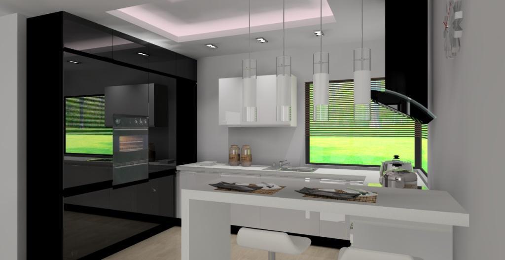 Archiwa kuchnia z oknem narożnym  Aranżacje i projekty wnętrz