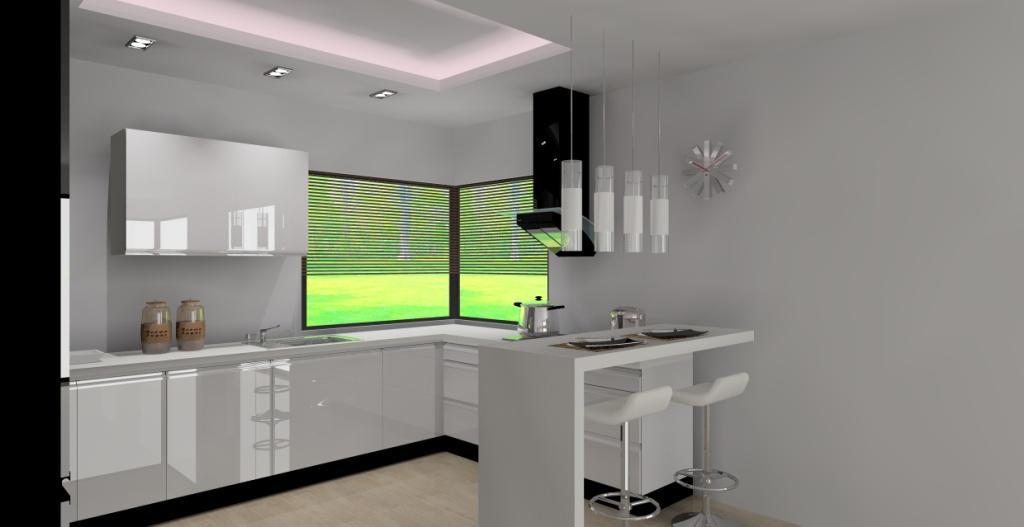 Kuchnia z barkiem wystrój nowoczesny w kolorze biały, czarny -> Kuchnia Z Barkiem