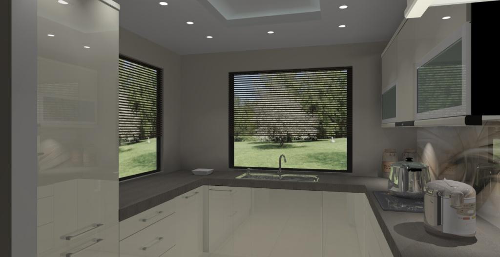 Kuchnia z dwoma oknami wystrój nowoczesny w kolorze brąz, beż