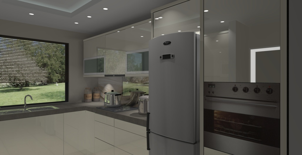 Kuchnia z dwoma oknami wystrój nowoczesny w kolorze brąz, beż -> Aranżacja Kuchni Z Niskim Oknem