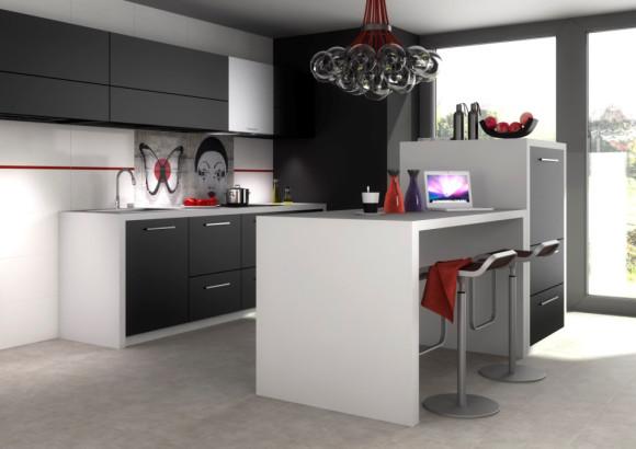Kuchnia z wysp wystr j nowoczesny w kolorze bia y czarny for A french touch salon