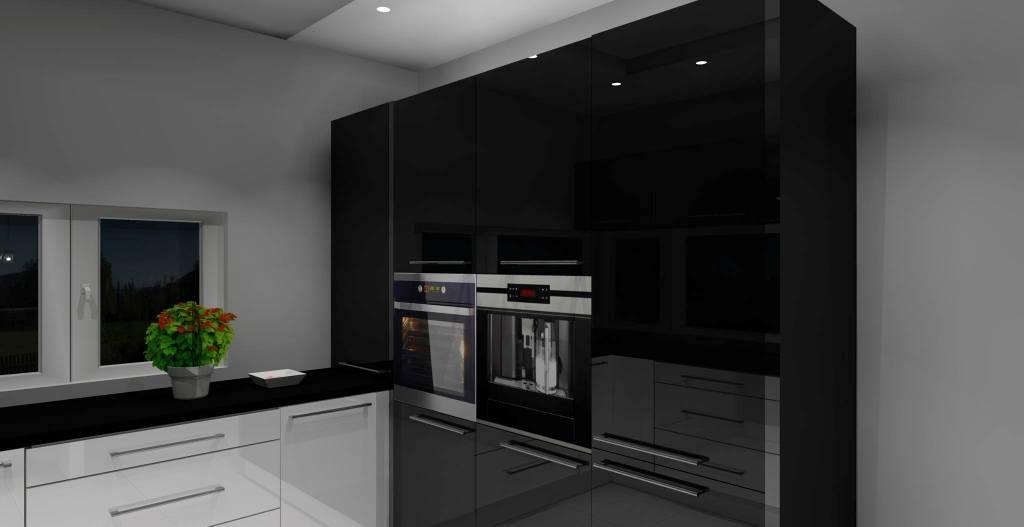 Elegancka i nowoczesna kuchnia biało  czarna z barkiem -> Kuchnia Bialo Czarna Z Oknem