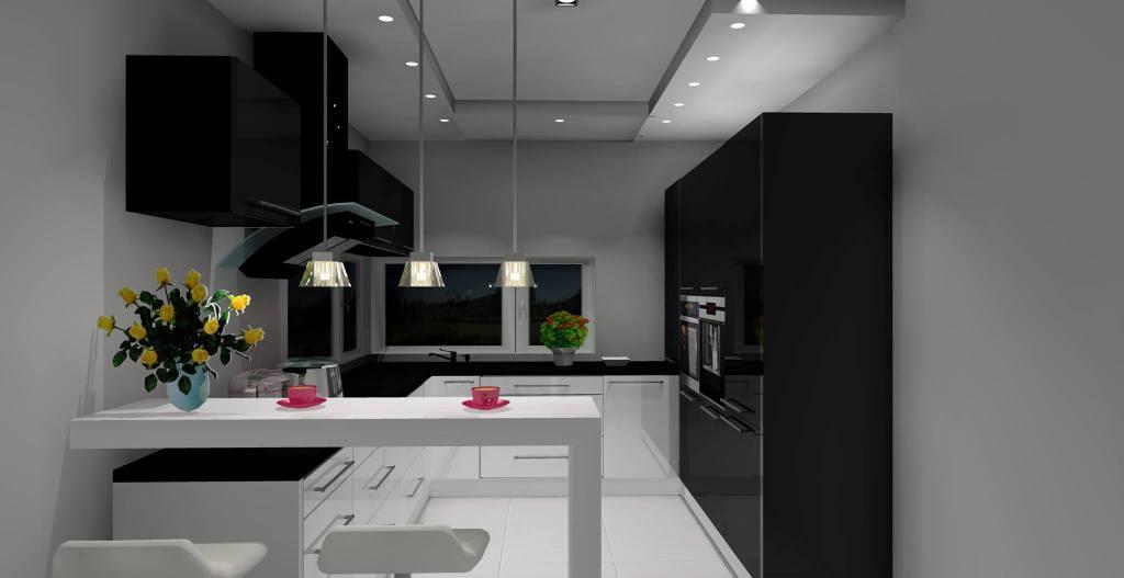 Elegancka i nowoczesna kuchnia biało  czarna z barkiem -> Kuchnia Bialo Czarna Jaki Blat