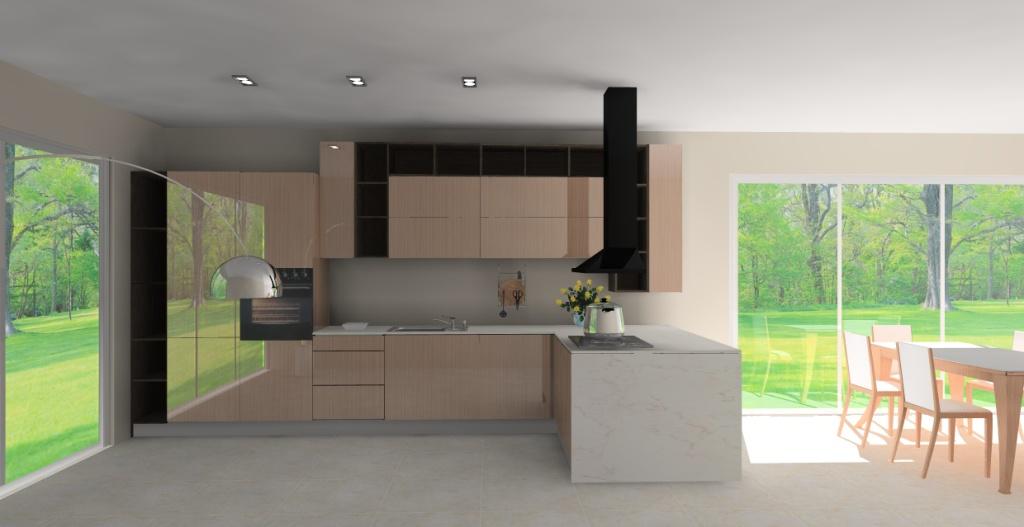 Elegancka kuchnia otwarta na salon wystrój nowoczesny w kolorze brązowym -> Kuchnia Z Oknem Otwarta Na Salon
