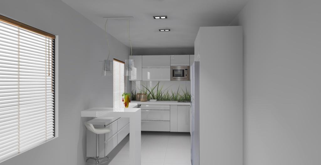Elegancka mała biała kuchnia, wystrój nowoczesny