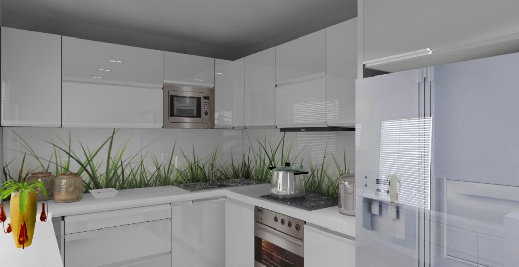 Elegancka mała biała kuchnia, wystrój nowoczesny -> Kuchnia Minimalistyczna Biala