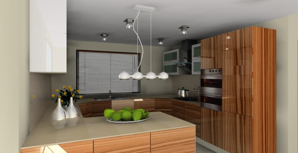 Elegancka nowoczesna kuchnia z barkiem w kolorze brązowym -> Kuchnia Z Barkiem Nowoczesna