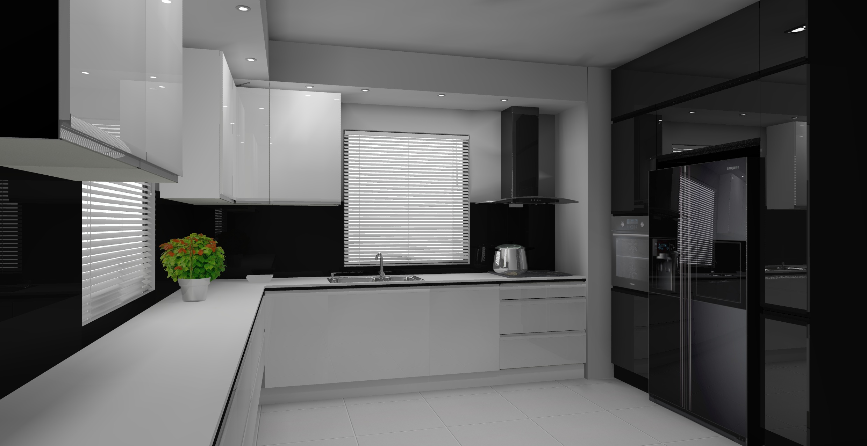 Nowoczesna biało  czarna kuchnia -> Kuchnia Bialo Czarna Z Barkiem