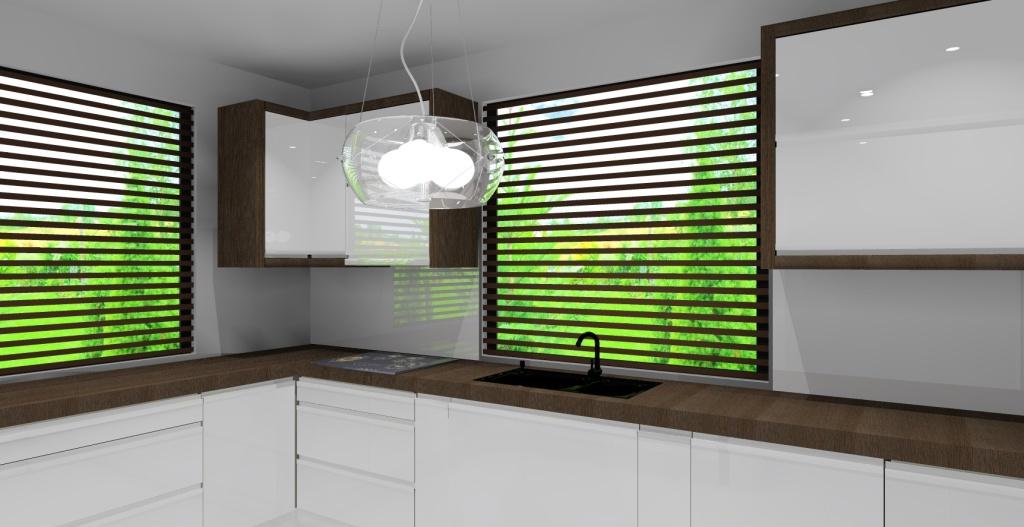 Projekt nowoczesnej kuchni w białym, czarnym i brązowym   -> Kuchnia Z Okapem Podszafkowym