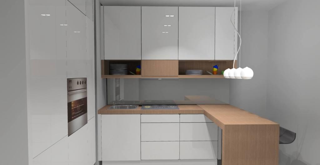 Kuchnia w kolorze białym i drewnie  Projektowanie i
