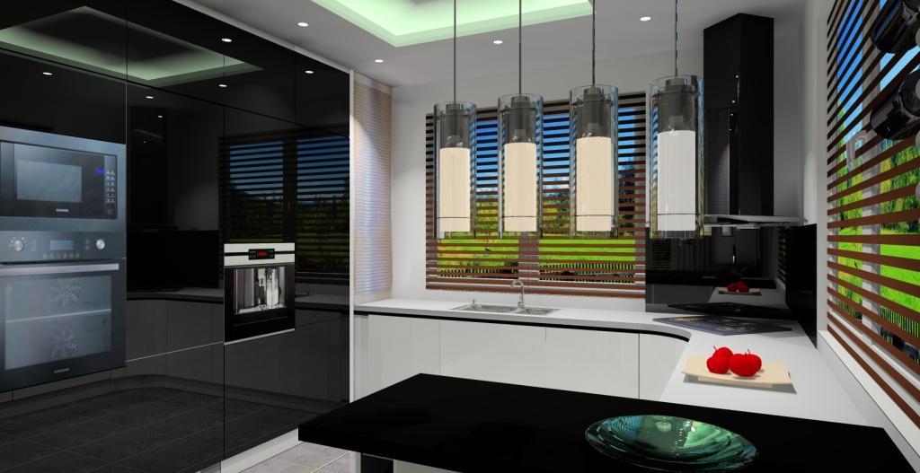 Nowoczesna biało czarna kuchnia  Projektowanie i   -> Kuchnia Bialo Czarna Z Oknem
