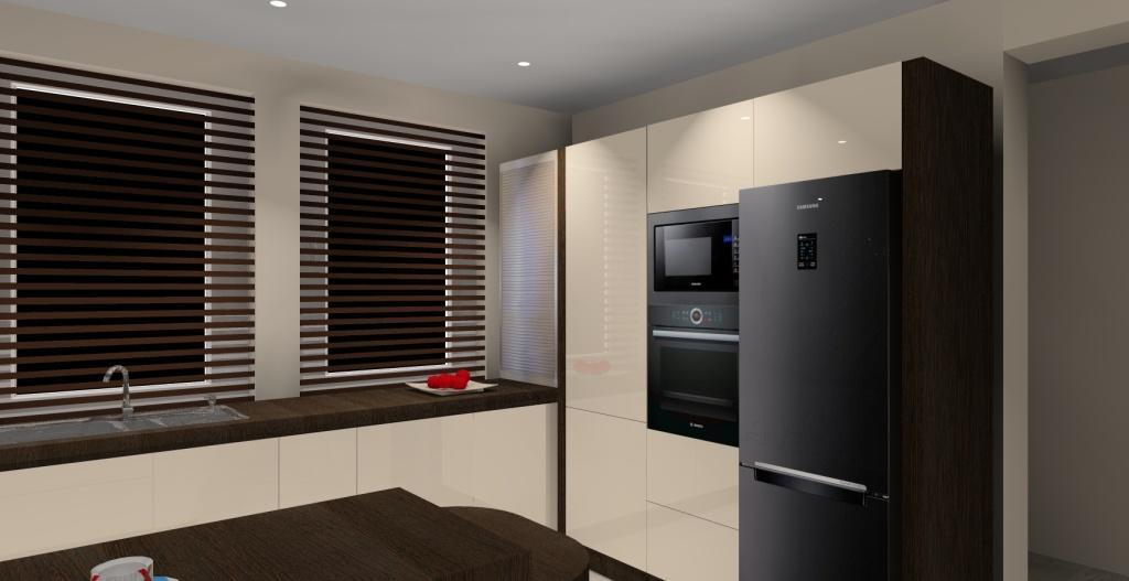 Nowoczesna kuchnia w kolorach wanilii i wenge  Projektowanie i aranżacja wnętrz -> Kuchnia Ecru Wenge