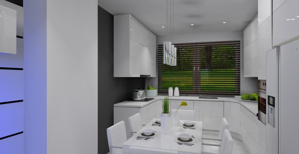 Salon i kuchnia w stylu nowoczesnym w kolorze szarym i białym  Projektowanie