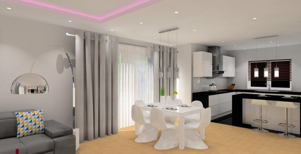 Salon z aneksem biało szary  Projektowanie i aranżacja wnętrz -> Kuchnia Z Aneksem Inspiracje