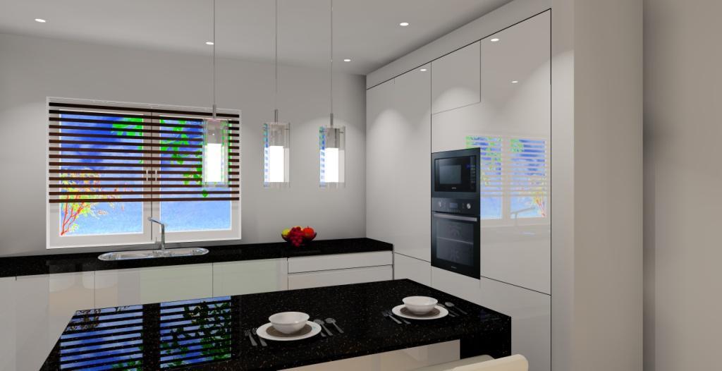 Salon z aneksem biało szary  Projektowanie i aranżacja wnętrz -> Kuchnia Z Wyspa Czarna