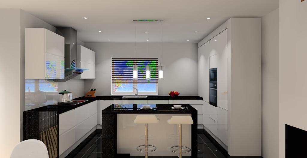 Salon z aneksem biało szary  Projektowanie i aranżacja wnętrz