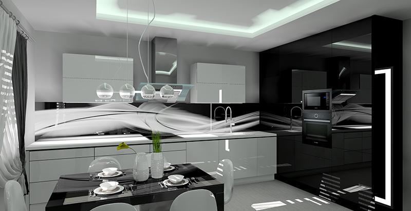 Kuchnia biało czarna  Projekt  aranżacja  Projektowanie   -> Kuchnia Bialo Czarna Z Oknem