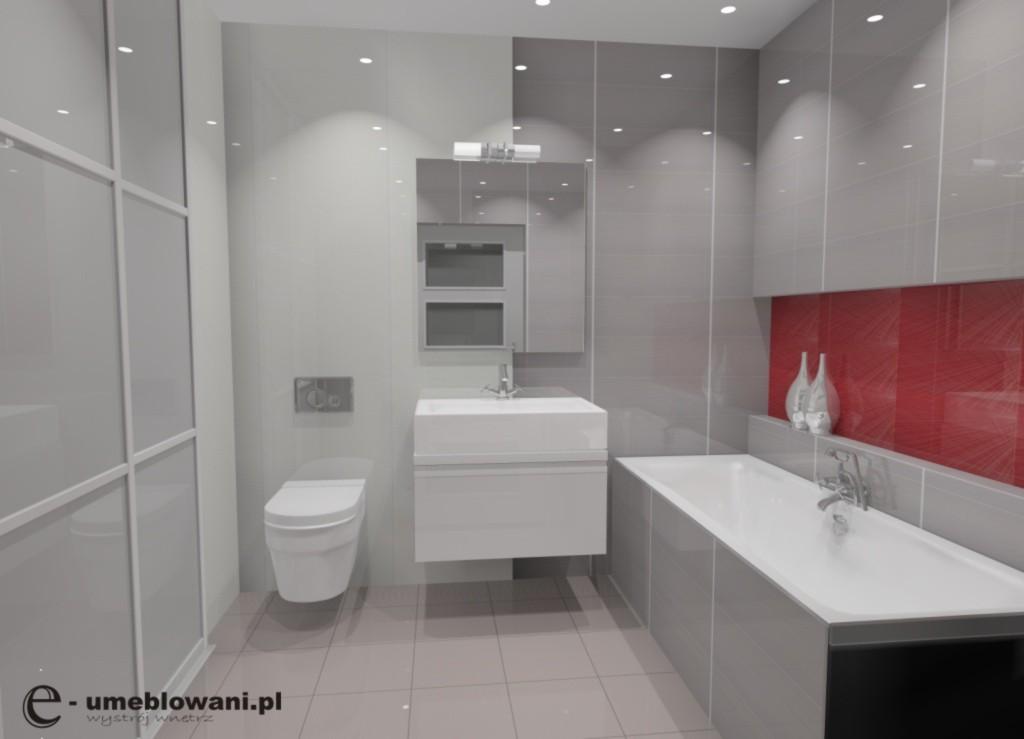 Łazienka wystrój nowoczesny w kolorze szary, czerwony