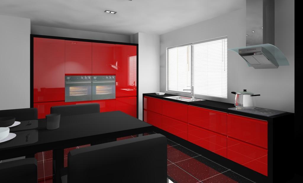 Kuchnia Wystroj Nowoczesny W Kolorze Czerwony Czarny