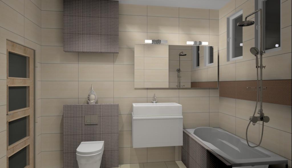Projekt łazienki Małej Wystrój Nowoczesny W Kolorze Beż Brąz