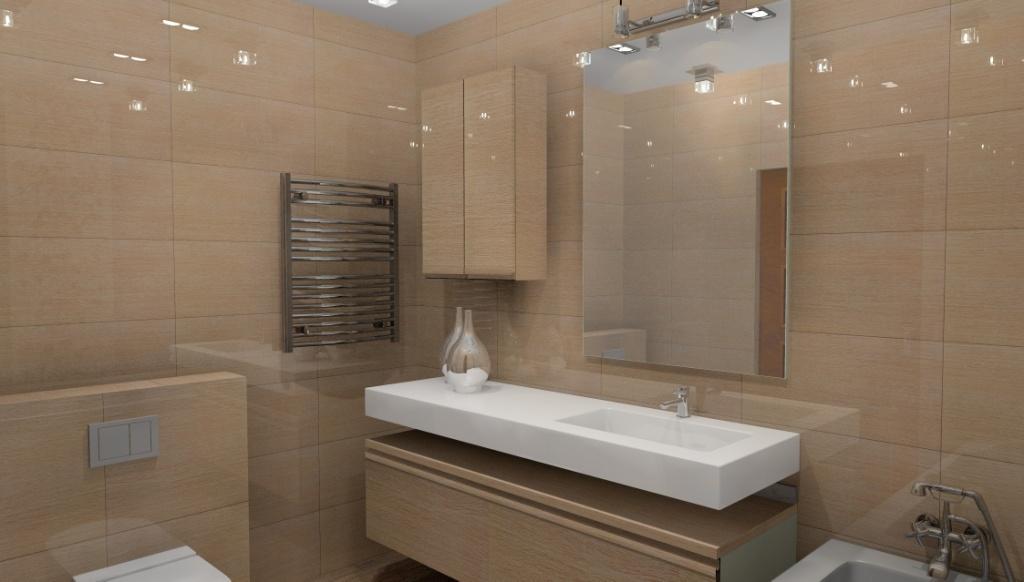 Łazienki wystrój nowoczesny w kolorze brąz, beż