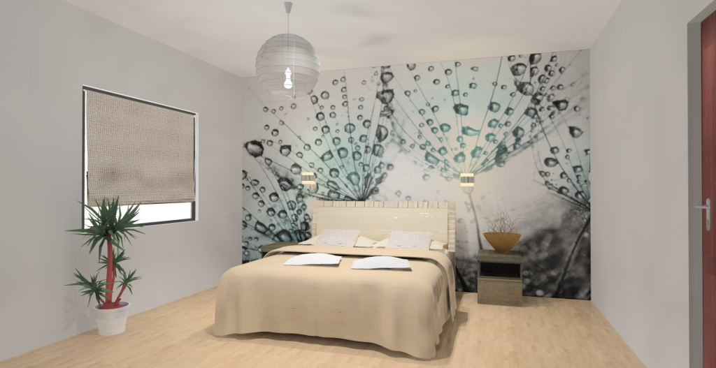 Sypialnia wystrój nowoczesny w kolorze biały, brąz, ecru, zielony, turkus